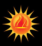 Sun with flames Stock Photo