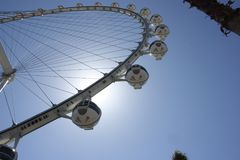 Sun flare around the High Roller ferris wheel, Las Vegas stock photography