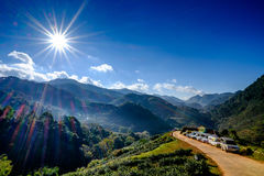 Sun Flare on Blue Sky in Mountain Stock Photography
