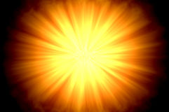 Sun flare centered. Centered sun flare or fire ball on dark background Stock Photo