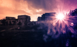Sun flare at dusk Royalty Free Stock Photography