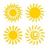 Sun icons set. Vector illustration. Sun flat design icons set isolated on white background. Vector illustration Stock Photo