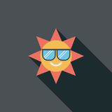 Sun flat icon with long shadow. Cartoon vector illustration stock illustration