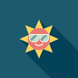 Sun flat icon with long shadow. Vector illustration file stock illustration