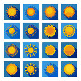 Sun Flat Icons In Isolated Blue Squares. Orange and yellow decorative sun circles with sunbeams in isolated blue squares flat vector illustration Royalty Free Stock Photo