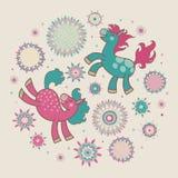 Sun-fleur-rond-chevaux Photo libre de droits