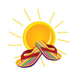 Sun with flip flop art  illustration Stock Photo