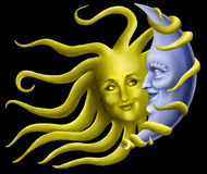 Sun-Flirts mit Mond Stockbild