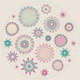 Sun-flor-redondo-etiqueta Foto de archivo libre de regalías