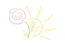 Sun and flower. Simple soft-colored logo/drawing of sun and flower Stock Images