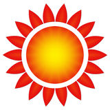The sun in a flower. Large flower red and yellow with numerous petals / White background Royalty Free Stock Photo