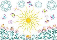 Sun, flower, butterfly. On white Royalty Free Stock Image
