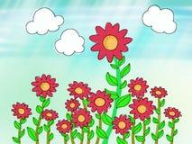 Sun flower. Decorated design pink cloud garden Stock Photo