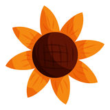 Sun flower icon, cartoon style. Sun flower icon in cartoon style isolated on white background. Plant symbol vector illustration Royalty Free Stock Photo