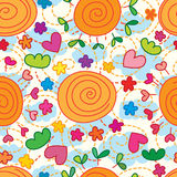 Sun flower leaf love seamless pattern Stock Photo