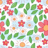 Sun flower leaf watercolor seamless pattern. This illustration is design and drawing abstract sun, flower and leaf watercolor with cloud sky background seamless stock illustration