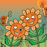 Sun flower orange butterfly cute card Royalty Free Stock Image