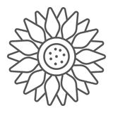 Sun flower thin line icon, farming and agriculture Royalty Free Stock Photo
