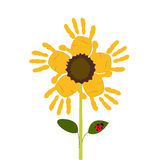Sun flowers with baby hand print vector. Background Royalty Free Stock Image