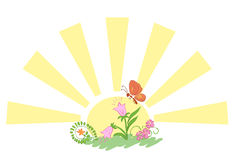Sun with flowers and butterfly - vector Royalty Free Stock Photo