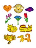Sun, flowers, cats, hearts, and a dog. Cartoon drawings. Artistic funny background. Royalty Free Stock Photos