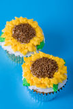 Sun flowers cupcake Royalty Free Stock Photos