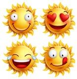 Sun font face avec des expressions du visage drôles pour l'été Photo stock