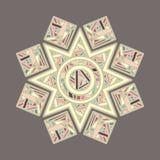 Sun a formé le vecteur décoratif coloré de mandala Photos stock