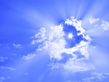 Sun through clouds, sunbeams, sky only, six-pointed star