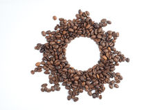 The sun frame from coffee beans Royalty Free Stock Images