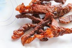 Sun-fried meat closeup food. Detail art Royalty Free Stock Photography