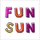 Sun Fun, from abstract letters. Drawn by hand, in different colors, with a shifted outline vector illustration