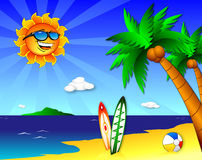 Sun and fun on the Beach. An illustration of a tropical paradise with a lot of fun in the sun. With a couple of palm trees, a couple of surf boards, a beach ball Royalty Free Stock Photo