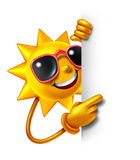 Sun Fun With Blank Sign. Sun summer fun as a three dimensional cartoon character holding a blank white sign as a symbol of leisure sunny vacation time and Stock Images
