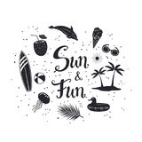 Sun and fun hand written lettering silhouettes poster with decorational items Stock Images