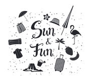 Sun and fun  hand written summer time travel silhouette poster with decorational items. Flamingo, sand castle, suitcase,  beach umbrella, palm, strawberry Stock Photography