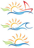 Sun Fun Logo. The sun sets over the sea in the logo icon set vector illustration