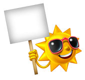 Sun Fun Mascot Sign. Fun in the sun isolated mascot holding a blank sign as a hot summer three dimensional cartoon character for leisure sunny vacation time and Royalty Free Stock Photography