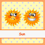 Sun, funny characters on a yellow background Stock Photography