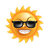 Sun with funny face in sunglasses isolated illustration Stock Image