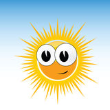 Sun funny with smile and big eye Royalty Free Stock Photos