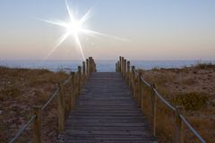 Sun and Gaia beach in Portugal Stock Image