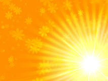 Sun-gelbe Leuchte mit Blumen Stockbilder