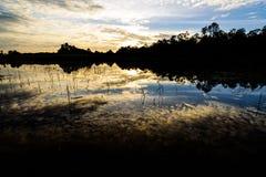 Sun giù ed il lago fotografia stock libera da diritti