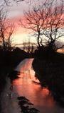 Sun giù il vicolo Fotografie Stock Libere da Diritti