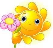 Sun giving a flower. Cartoon Character of Cute Summer Sun giving a flower Royalty Free Stock Photo