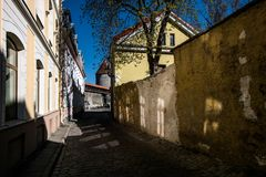 The sun. Glare. Tallinn. Streets of the old town of Tallinn in the spring. Estonia in all its glory royalty free stock photo