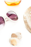 Sun glass and hat Stock Images