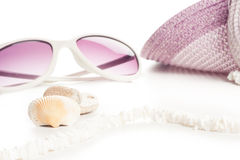 Sun glass and hat Royalty Free Stock Photography