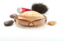 Sun glass on white  background with seashell Stock Photography